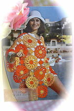 "Vintage Crochet Pattern Lady's ""Sunflower"" Poncho, Beachwear, £2.39 & Free P&P!"