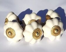 6 x Cream flower Ceramic Knobs (brass) Pulls Handles door drawer Cabinet