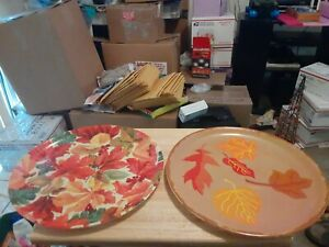 """BETTER HOME & GARDENS 13.75"""" SERVING PLATTERS  FALL LEAF PATTERNS HOLIDAY PARTY"""