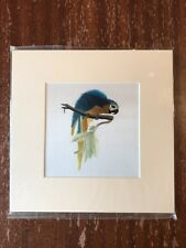 China Embroidery Art Inc Handmade Silk Royal Bird Blue Yellow Matted Painting