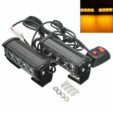 4-LED 12V Car Strobe Flash Grille Light Warning Hazard Emergency Lamp Bars Amber