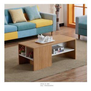 Scandinavian Coffee Table Retro Style White Wooden Elegant Storage Table Nordic