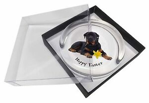 'Happy Easter' Rottweiler Dog Glass Paperweight in Gift Box Christm, AD-RW3DA1PW