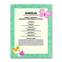 CUSTOM NAME MEANING PRINT Newborn Baby Girl Gift Christening Naming Day Baptism