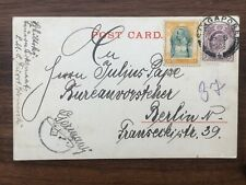 THAILAND SIAM STRAITS SETTLEMENTS OLD POSTCARD SINGAPORE TO GERMANY 1906 !!