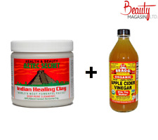 Aztec Secret Indian Healing Clay (1lb) + Bragg Apple Cider Vinegar 473 ml