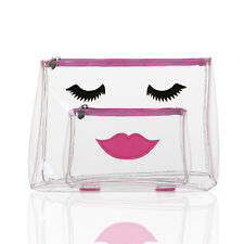 Emma Lomax 2 Pc Clear PVC Travel Washbag Make-up Toiletry Bag Holder Pouch