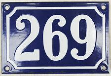 Blue French house number 269 door gate plate plaque enamel steel metal sign