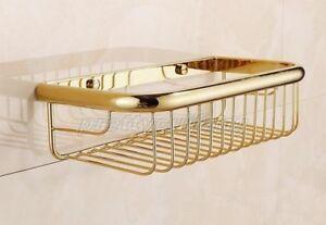 Luxury Gold Color Brass Bathroom Soap / Sponge Shower Storage Basket Pba095