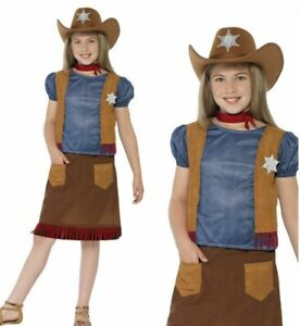 Girls Cowgirl Costume Kids Wild West Belle Fancy Dress Outfit Age 4-12 Years
