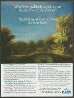 KLM .Royal Dutch Airlines - Next flight for Rembrandt exhibition - 1991 Print Ad