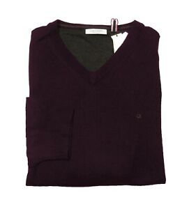 Calvin Klein Big & Tall Men's Dark Chestnut Merino Wool V-Neck Pullover Sweater