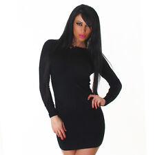 Sexy Kleid Minikleid Longpullover Pulli Pullover Schwarz Struktur S / M