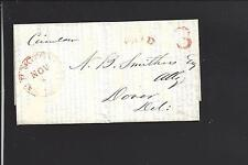WASHINGTON,DISTRICT OF COLUMBIA 1850 STAMPLESS CIRCULAR, CLAIMS.RED ARC PAID.3.