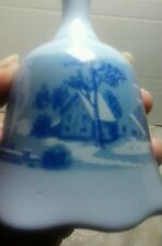"""Currier and Ives - Vtg Blue """"The Old Homestead In the Winter"""" Bell"""