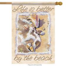 "Better By the Beach Summer House Flag Nautical Shells Surf Sand 28"" x 40"""