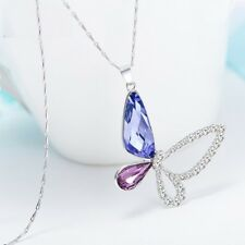 Women Crystals Shining Necklace Pendants S925 Sterling Silver Jewelry Blue