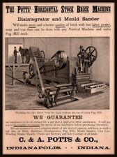 1891 AD  C A POTTS CO HORIZONTAL STOCK BRICK MACHINE HORSE CART ENGRAVING