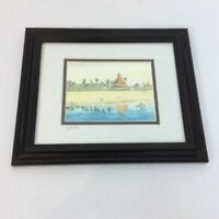 "John Yato Lady Del Watercolor Print Framed Mat Signed 12""x10"" Hotel del Coronado"