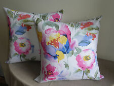 Pink Green Blue White Watercolour Style Floral Print Cushion Cover 45cm Au Made