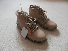 BNWT Girls ZARA Pink / Taupe Leather Lace Up Fashion Hiking Boots Size 3 Euro 35