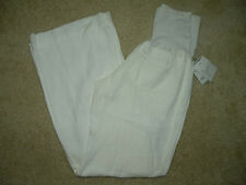 NWT $198 Joie Pea in the Pod Collection Maternity Ivory Linen Flare Wide Pants 8