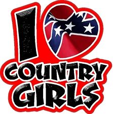 I Love Country Girls Decal Car Sticker Truck Decal