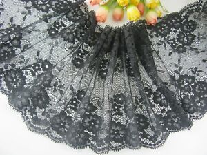 "6""*1yard delicate black Flower Floral lace trim for DIY 0410"