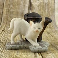 Cat & Watering Can Figurine White Kitten Resin