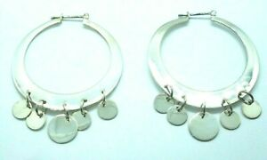 Sterling Silver 925 Gypsy Style Hoop Earrings with Five Hanging Disc Drops