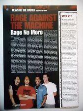 COUPURE DE PRESSE-CLIPPING :  RAGE AGAINST THE MACHINE  12/2000 Split