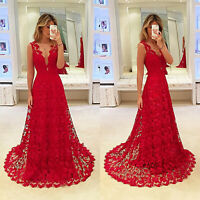 Women Elegant Lace V-Neck Dress Red Evening Formal Wedding Bridesmaid Maxi Dress
