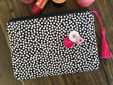 NEW Handmade Cosmetic Makeup bag large Purse Pouch Spotty Dotty Dots Tassel Pink