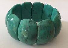 Turquoise Chunky Bracelet Faux Marbled Gemstone Acrylic Beads Stretch Bangle