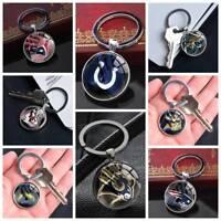 NFL American Football Team Logo Keychain Silver Car Keyring Pendants Glass Gifts