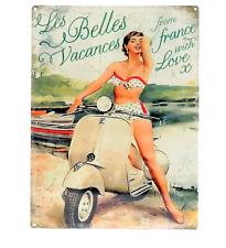 Grande Plaque Métal 30x40 Vacances Vespa Scooter Atelier Vintage Rétro Déco Loft