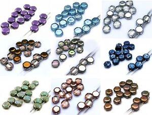 6(mm) TWO HOLE CZECH TILE BRICK GLASS HONEYCOMB HEXIGON BEADS 21 COLOUR- (20PCS)