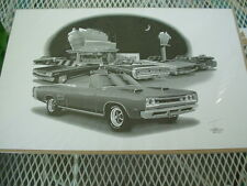 """69 Coronet R/T convertible, Thom SanSoucie, Hand Signed Print # 5203, 11"""" x 17"""""""