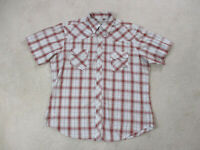 Wrangler Pearl Snap Shirt Adult Extra Large Brown Red Plaid Western Rodeo Men A1