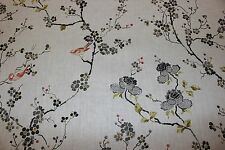Sanderson curtain upholstery fabric design Maia cream/charcoal 2.5 metres birds