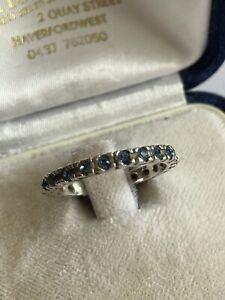 Vintage 925 Silver & Cornflower Blue Sapphire Full Eternity Dress Ring Size O