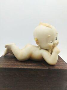 Vintage Lefton Porcelain Bisque Kewpie Angel Wings Doll Laying Down Figurine
