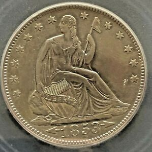 1853 Liberty Seated Arrows and Rays 50C XF 45 Details