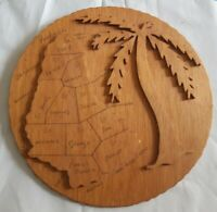 Barbados Hand made round wooden wall art folk art map and engravings