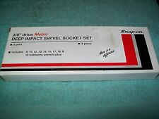 "NOS Snapon™ 3/8"" drive 8 - 19 mm 6-point DEEP IMPACT Swivel Socket Set 209IPLFMY"