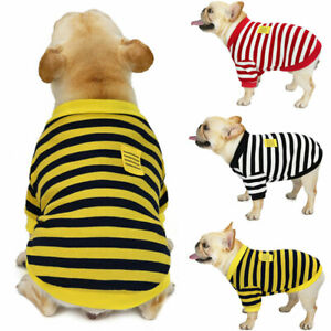 Classic Stripe Pet Dog Sweater Jacket Clothes Puppy Cat Coat French Bulldog New