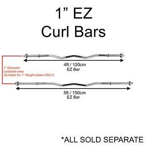 "Exersci Spinlock EZ Curl Barbell 1"" Diameter Training Bar 4FT & 5FT"