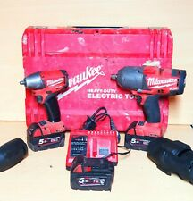 "MILWAUKEE M18CHIWF12 & M18CIW38 1/2"" & 3/8"" Impact Wrench 3X 5.0AH BATTERIES"