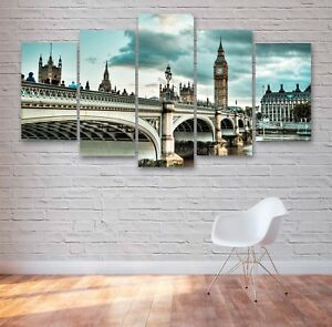 London City, Bridge, Big Ben 5 Panel Canvas, Wall Art, Picture, Print #046