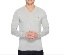 Lacoste Men's Silver Chine V Neck Cotton Jersey Sweater Sz M 0415